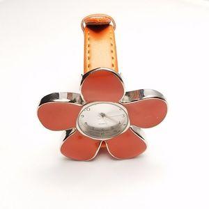 Working Bright Orange Flower Fashion Watch